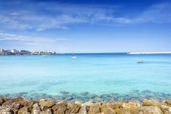 White sail boats at Otranto coast, Italy Stock Photos