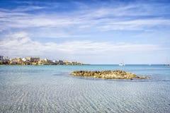 White sail boats at Otranto coast, Italy Royalty Free Stock Photo
