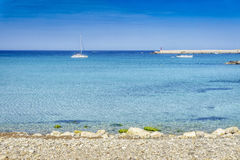 White sail boats at Otranto coast, Italy Royalty Free Stock Image
