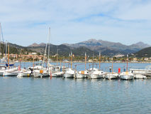 White Sail Boats and Yachts in Port D'Andratx, Majorca Island Stock Photo