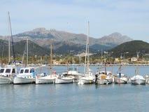 White Sail Boats and Yachts in Port D'Andratx, Majorca Island Stock Image