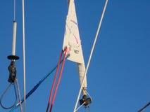 White sail wrapped in good weather stock photos