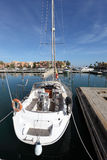 White sail yacht in the marina. Of Sotogrande, Andalusia Spain Stock Photo