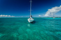 White sailboat moored off tropical island in ocean Stock Images