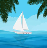 White sailboat sailing in blue clear water nature adventure holiday. Vector Royalty Free Stock Photos