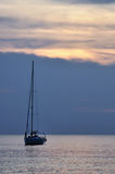 White sailboat in a sea Royalty Free Stock Image