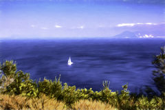 White sailboat in the sea with sunlight and sky. Summer season nature background Stock Photos