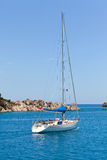 White sailboat in turkish bay Stock Image