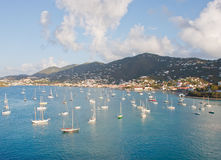 White Sailboats Anchored in St Thomas Bay Stock Image