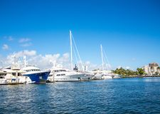 White Sailboats Moored in the Intracoastal Royalty Free Stock Images