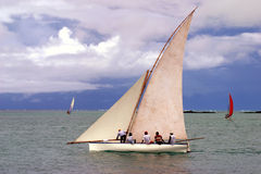 White sailed pirogue Royalty Free Stock Photography