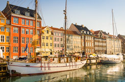 White Sailing  boats in idyllic Copenhagen Stock Images