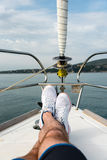 White sailing shoes Royalty Free Stock Image