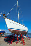 The white sailing yacht in dock, pier Stock Photo