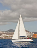 WHITE SAILS. The large beautiful yacht with white sails stock photography