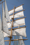 White sails of an old sailing ship Royalty Free Stock Photo