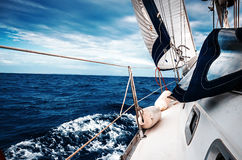 The white sails of yachts Stock Photo