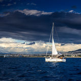 The white sails of yachts Stock Photos