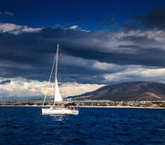 The white sails of yachts Stock Image