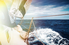 The white sails of yachts Stock Photography