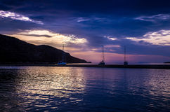 The white sails of yachts Stock Images