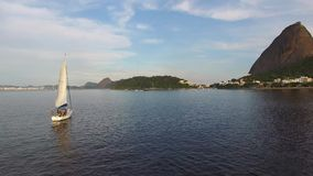 The white sails of yachts on the Guanabara Bay in Rio de Janeiro, Brazil stock footage