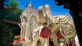 White Saint Elephant Statue in Buddhist Temple in Vietnam Stock Images