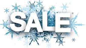 Sale background with blue snowflakes. Royalty Free Stock Photos
