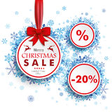 White Sale Circles Red Ribbon Blue Snowflakes Royalty Free Stock Image