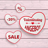 White Sale Hearts Red Ribbon Valentinstag Pink Wooden Background Royalty Free Stock Images