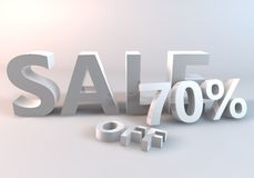 White Sale 70%. This is image 3 dimensions for sale promote royalty free illustration