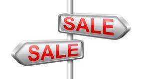 White sale metal arrow button. 3D white sale arrow button with metal edge Royalty Free Stock Images