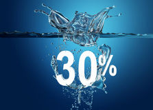 White sale percent. Dropped into water with splash  on deep blue background Royalty Free Stock Image