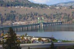 White Salmon Interstate bridge, Hood River Oregon. An interstate long bridge connecting Oregon & Washington states royalty free stock photography
