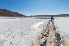 White salt basin on the Bolivian Andes Royalty Free Stock Images