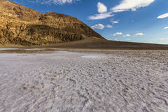 On white salt inside Death Valley at extreme heat, USA Stock Image