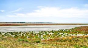 White salt lake under blue sky Royalty Free Stock Photography