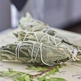 Incense of white salvia. White salvia incense. Salvia ritual concept. White sage, scared sage, california sage, bee sage Royalty Free Stock Photo