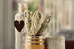 Incense of white salvia. White salvia incense. Salvia ritual concept. White sage, scared sage, california sage, bee sage Royalty Free Stock Images