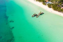 Free White Sand Beach And Lagoon With Turquoise Water, Aerial View. Boracay Island Grotto, Willy`s Rock. Stock Images - 151470434