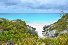 White sand beach bay on Bahamas. White sand beach bay on Eleuthera island, Bahamas Stock Image