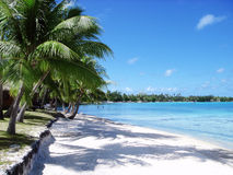 White sand beach and blue blue sky Stock Images
