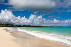 White sand beach blue ocean Stock Photography