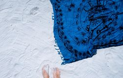 White, Sand, Beach, Blue, Shawl Royalty Free Stock Images