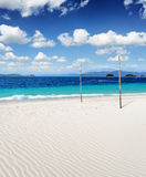 White sand beach and blue sky Stock Photo