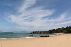 White Sand Beach and Blue Sky. White Sand Beach, a Boat and Blue Sky at Thailand Beach in a Sunny Day Stock Image