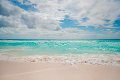 White sand beach and blue sky. In Cancun Stock Photos