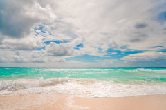 White sand beach and blue sky. In Cancun Royalty Free Stock Images