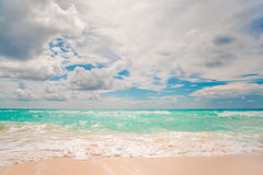 White sand beach and blue sky. In Cancun Stock Image