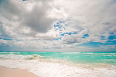 White sand beach and blue sky. In Cancun Royalty Free Stock Photo